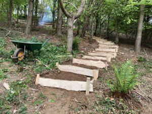 Building woodland steps